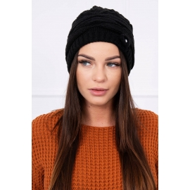 Ženska kapa z okrasnim biserčkom K105, črna