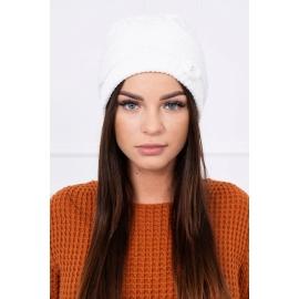 Ženska kapa z okrasnim biserčkom K105, bela