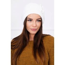 Ženska kapa z biserčki K95, bela