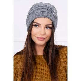 Ženska kapa z biserčki K95, siva