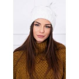 Ženska kapa s cofom K97, bela