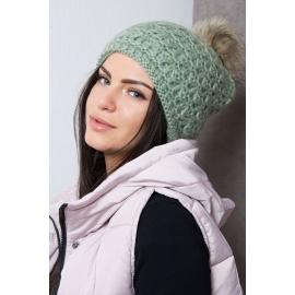 Ženska kapa s cofom K87, zelena
