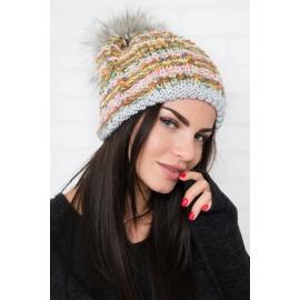 Ženska večbarvna kapa N-K, siva