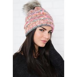 Ženska kapa K106, roza/siva