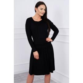 Obleka s širokim krilom in žepom 62246, črna