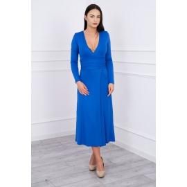 Daljša obleka z V izrezom 62247, modra