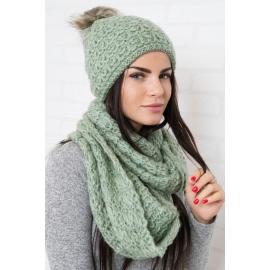 Ženska kapa in šal K87, zelena
