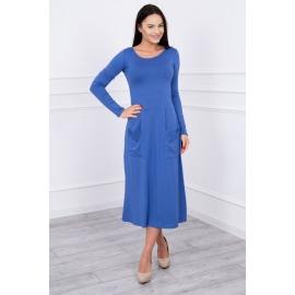 Obleka z okroglim ovratnikom in dolgimi rokavi 62245, jeans modra