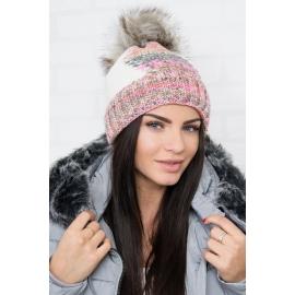 Ženska kapa z vzorcem K159, ekru