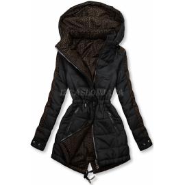 Obojestranska prehodna jakna z vzorcem W556, črna/rjava