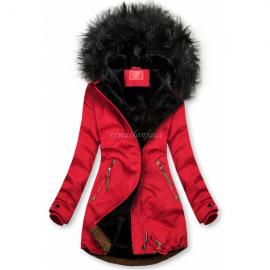 Zimska bunda z rjavimi dodatki, rdeča/črna
