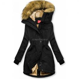 Zimsko bunda z visokim ovratnikom M-953, črna
