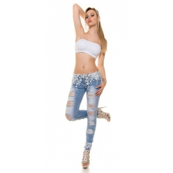 Ženske KouCla jeans hlače z belo čipko
