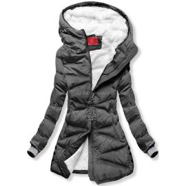 Prešita zimska bunda S605, temno siva