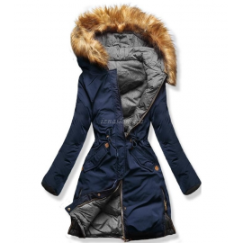 Ženska obojestranska zimska bunda A5, temno modra/siva