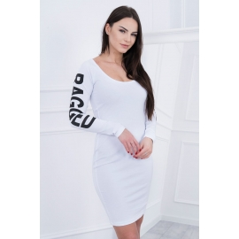 Obleka z napisom na rokavih Ragged 8828, bela