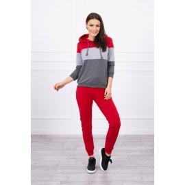 Ženski komplet z večbarvno jopico 8877, rdeč/siv