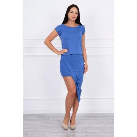 Asimetrična obleka s kratkimi rokavi 61524, jeans modra