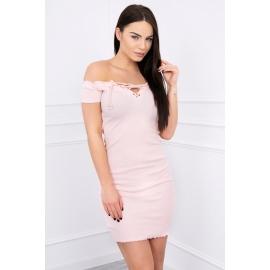 Obleka z vezavo na dekolteju 8864, puder roza
