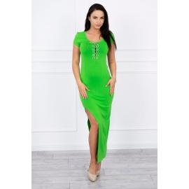 Obleka z asimetričnim rezom 8889, zelena