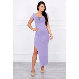 Obleka z asimetričnim rezom 8889, svetlo vijoličasta
