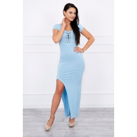 Obleka z asimetričnim rezom 8889, svetlo modra