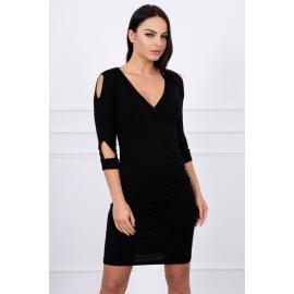 Obleka z izrezi na rokavih 8900, črna