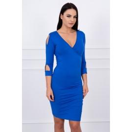 Obleka z izrezi na rokavih 8900, modra