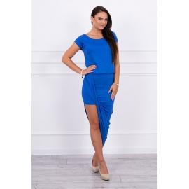 Asimetrična obleka s kratkimi rokavi 61524, modra