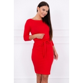 Obleka z zavihanimi rokavi 8925, rdeča