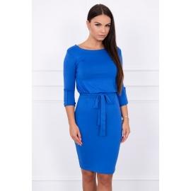 Obleka z zavihanimi rokavi 8925, modra