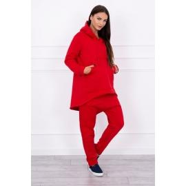 Ženski komplet z baggy hlačami 8944, rdeč