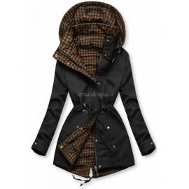 Obojestranska prehodna jakna s pepita vzorcem, črna/rjava