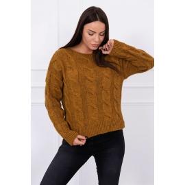 Ženski pulover z daljšim hrbtnim delom S7361, moro