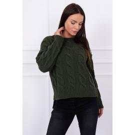 Ženski pulover z daljšim hrbtnim delom S7361, kaki