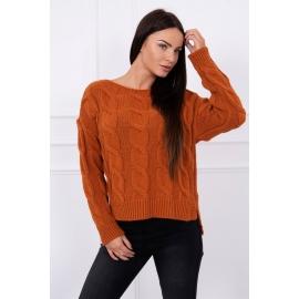 Ženski pulover z daljšim hrbtnim delom S7361, rjava
