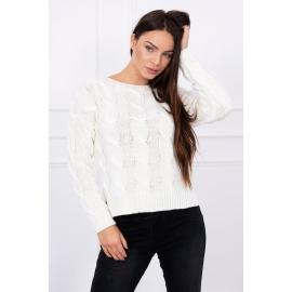 Ženski pulover z daljšim hrbtnim delom S7361, ekru
