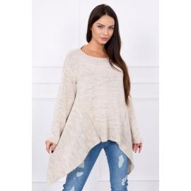 Ženski asimetričen pulover S7871, bež