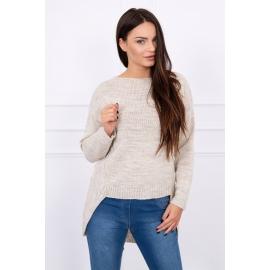 Ženski pleten asimetričen pulover S7101, svetla bež