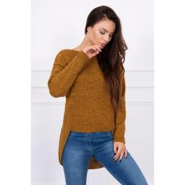 Ženski pleten asimetričen pulover S7101, moro