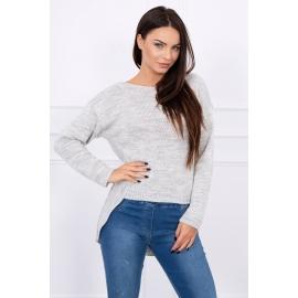 Ženski pleten asimetričen pulover S7101, siva