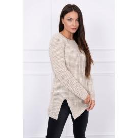 Ženski pleten pulover z režo na sprednji strani S7603, svetlo bež
