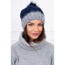 Ženska dvobarvna kapa K114, temno modra/siva