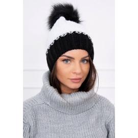 Ženska dvobarvna kapa K114, bela/črna