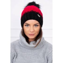 Ženska dvobarvna kapa K114, rdeča/črna