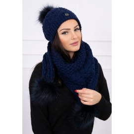 Ženska kapa in šal s pom pom cofki K110, temno modra