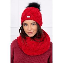 Ženska kapa in šal K112, rdeča
