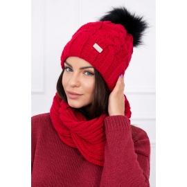 Ženska kapa in šal K116, rdeča