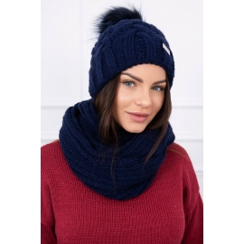 Ženska kapa in šal K116, temno modra