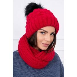 Ženska podložena kapa in šal K117, rdeča